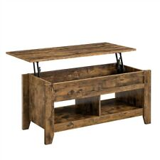 Lift Top Coffee Table w/Storage & 2 Open Shelves For Living Room Rustic Brown