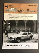 1978 Alfa Romeo Sprint Veloce Press Release & Photo RARE!! Awesome L@@K