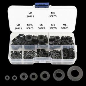 350Stück Unterlegscheiben Schwarz Sortiment Nylon Kunststoff Unterlagsscheiben