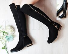Women Ladies Low Flat Heel Knee High Thigh Stretch Boots Winter Ziped Shoe Size