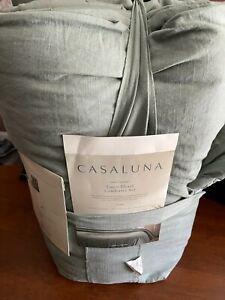 Heavyweight Linen Blend Comforter & Sham Set Sage Green - Casaluna KING Free shi