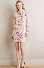 NEW Anthropologie Agueda Shirt Dress Size XS Petite Pink Floral