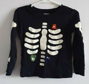GYMBOREE boys size 4 black w/ivory bones long sleeve pajama shirt