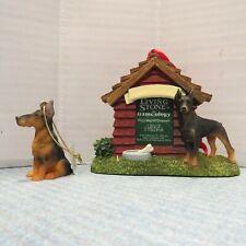 Doberman Pinscher Dog Stone Photo Frame Magnet & Christmas Tree Ornament Nwt