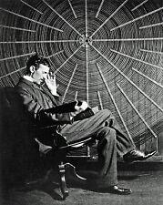 Nikola Tesla Genius Scientist w/ Electric Tesla Coil 8x10 Canvas Art Print