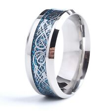 Stainless Steel Ring With Silver And Blue Celtic Dragon Carbon Fiber Band