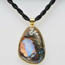 18k Yellow Gold LARGE Black Boulder Opal 1/3 Ct Diamond Rope Necklace Unique