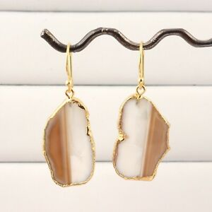 Perfect Pair Natural Agate Slice Yellow Gold Electroplated Drop Dangle Earrings