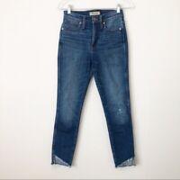 "Madewell 10"" High Rise Skinny Jeans Tulip Slant Raw Edge Hem Size 24 EUC Denim"