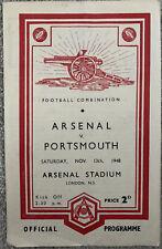 More details for arsenal reserves v portsmouth reserves 1948/49