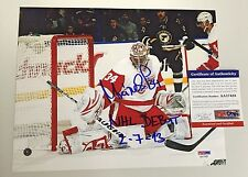 PETR MRAZEK SIGNED DETROIT RED WINGS NHL DEBUT 8X10 PHOTO W/ INSC PSA/DNA COA