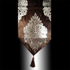 SHINY CHOCOLATE THICK VELVET SILVER DAMASK TASSEL WEDDING BED TABLE RUNNER CLOTH