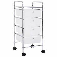 4 Drawer Trolley Portable Storage Cart Rack Chest Unit Shelves Tray White Chrome