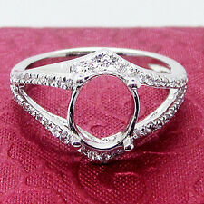 7x9mm Oval Cut Solid 14kt 585 White Gold Natural Diamond Semi Mount Ring