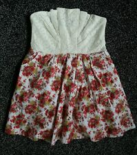Stunning ladies size 14, lace & floral summer strapless mini dress. NEW