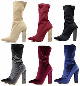 Shoe Republic Pointy Toe Lycra Velvet Chunky High Heel Dress Stretchy Bootie