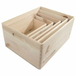 Wooden Open Decorative Storage Boxes / 5 Sizes / Small to Large Pinewood Crate