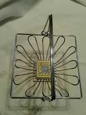 """Stainless Metal Wire Hand Basket W/Ceramic Tile Bottom 8"""" X 8"""" Double Handles"""