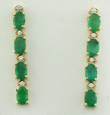 4.71 Carat Natural Emerald 14K Solid Yellow Gold Diamond Earrings