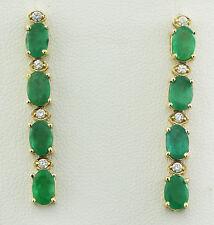 4.72 Carat Natural Emerald 14K Solid Yellow Gold Diamond Earrings