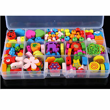 130PCS Mix Color Shape Wooden Beads Assorted DIY Jewelry Making Craft Box Set
