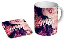 YOLO Floral Ceramic Tea - Coffee Mug Coaster Gift Set