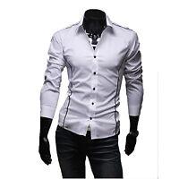 Fashion Mens Slim Fit Casual Formal Long Sleeve Dress Shirts Stylish Classic Top