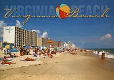 Greetings from Virginia Beach VA Swimming & Bathing Colonial In Hotel - Postcard