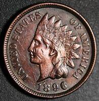 1896 INDIAN HEAD CENT -With LIBERTY & Near 4 DIAMONDS - AU UNC