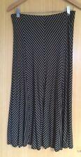 M&S Ladies Skirt 12 Stripy Jersey Calf Smart Casual Work Grey Black Elasticated