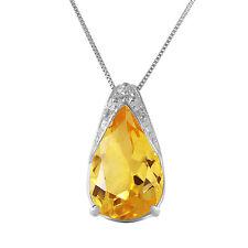 14K White Gold Necklace w/ Not Enhanced Citrine yellow gemstone Pendant Chain