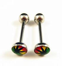 2Pc 316L Stainless Steel Marijuana/Weed Leaf Tongue Nipple Bar Barbell Ring