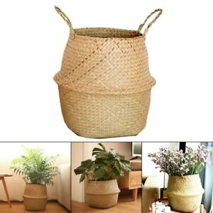 Seagrass Wickerwork Basket Rattan Hanging Flower Pot Dirty Laundry Hamper Basket