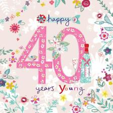 BEAUTIFUL COLOURFUL GLITTER COATED 40 YEARS YOUNG 40TH BIRTHDAY GREETING CARD