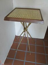 MID CENTURY Atomic table MOSAIC Tile Top brass tone spider leg wood USA original