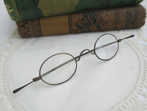 Old Antique 1800's Civil War Era Oval Wire Rim Eyeglasses Spectacles