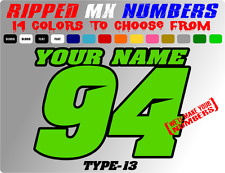 CUSTOM 2 COLOR NAME MOTORCYLE NUMBER PLATE RACING DECALS DIRTBIKE STICKERS CAR