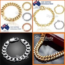 18K MENS LADIES YELLOW SILVER ROSE GOLD GF CURB RING CHAIN SOLID BRACELET BANGLE