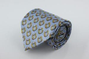 ERMENEGILDO ZEGNA Silk Tie. Eye Catching Light Blue w Gold Geometric Shapes.