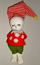 Vintage Pixie SNOWMAN Elf felt Christmas Ornament made in Japan red striped hat