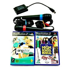 Ps2 Ps3 Sing Star Mics Pair Converter & 2 Games singstar Pop Hits & HSM Sing It