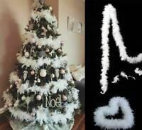 5pcs 2m Arbre De Noël Plume Blanche Boa Maison Fête Noël Ruban Guirlande Décor
