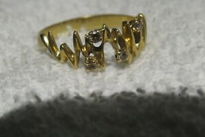 18ct 18K 750 Solid  Gold Diamond  Ring Large 4.2 grm