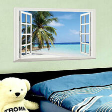 AU 3D Window Palm Beach Sea Wall Sticker Mural Vinyl Art Home Decor DIY Decal