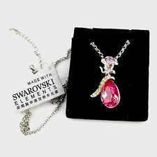 Rose Pink Drop Necklace Genuine Swarovski  Elements  ❤❤❤