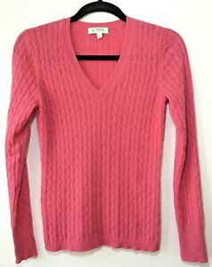 Kinross Women's Size S 100% Cashmere Cable Knit Pink Sweater $365