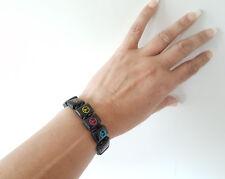 1.5 cm Ancho Negro de madera y color icono de Paz Pulsera elástica