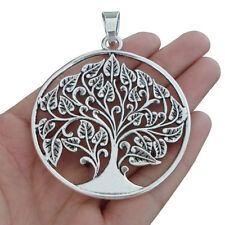 2pcs Antique Silver Large Tree Round Charms Pendants for Necklace Jewelry Making