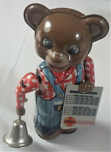 Vintage Tin Wind-Up Fossil Streamliners Schedule Bear