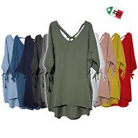 Wolfairy Italian Lagenlook Cotton Tunic Top Longer Back Plus Size 14-22